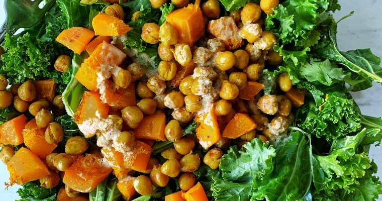 Kale Chickpea Salad with Tahini Dressing