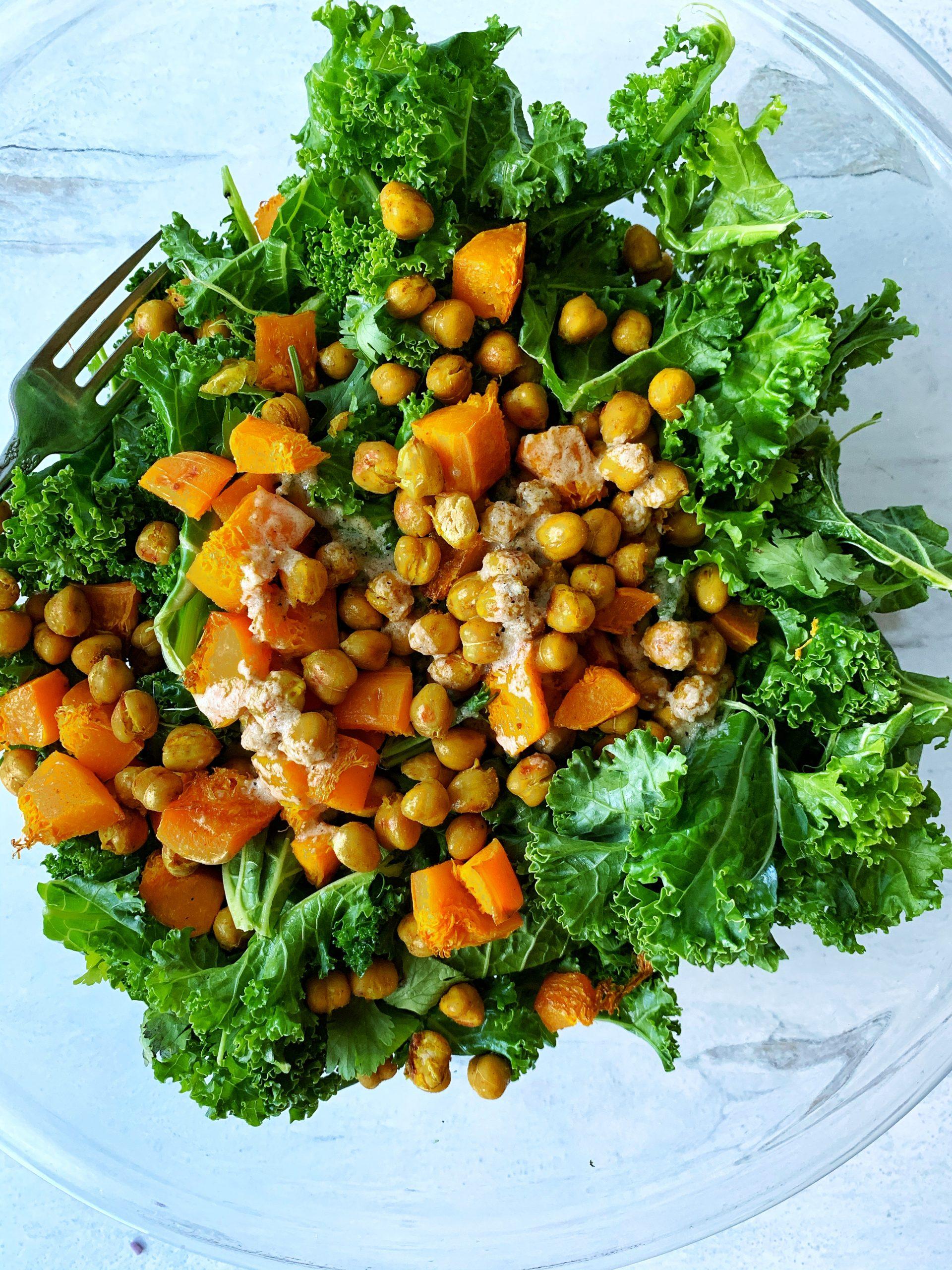 Kale Chickpea Salad with Tahini Dressing