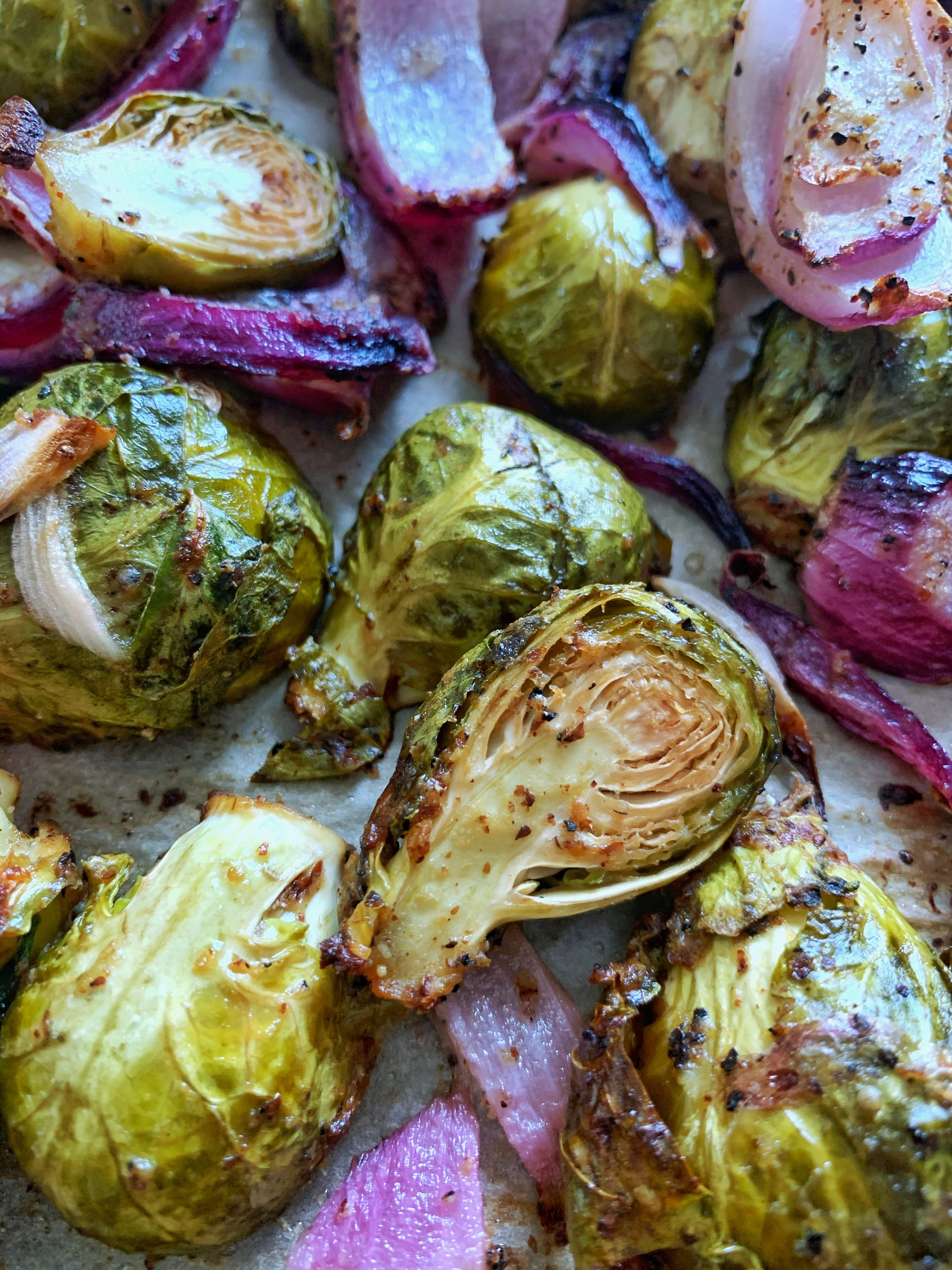 Roasted Maple Mustard Brussels Sprouts