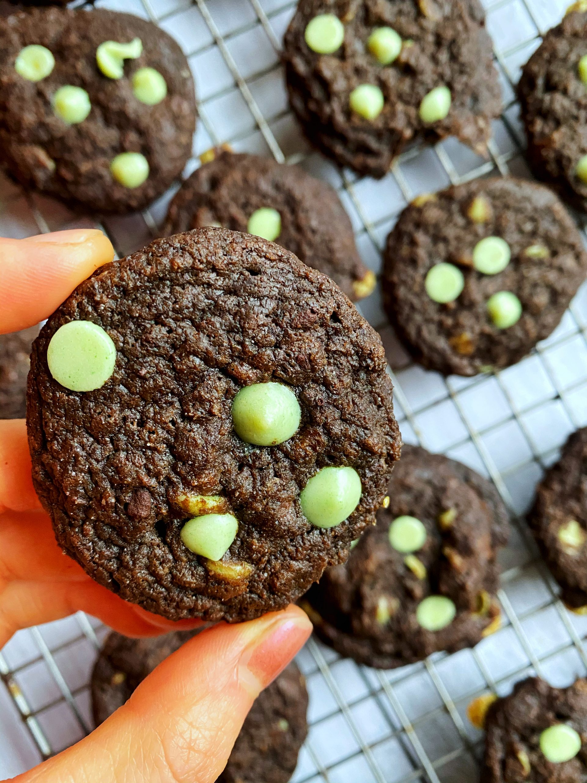 Mint Chocolate Chip Cookies (High protein, low sugar)